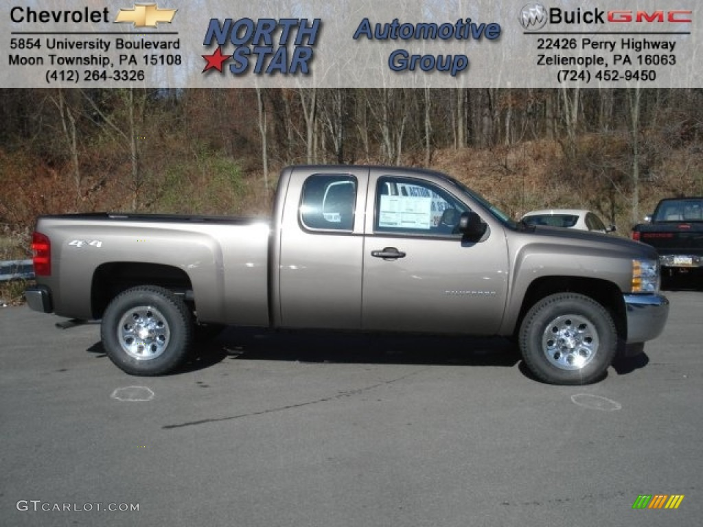 2013 Silverado 1500 LS Extended Cab 4x4 - Mocha Steel Metallic / Dark Titanium photo #1