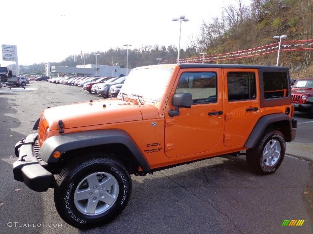 2013 Crush Orange Jeep Wrangler Unlimited Sport S 4x4