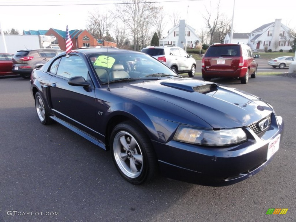 2001 Mustang GT Coupe - True Blue Metallic / Medium Parchment photo #4