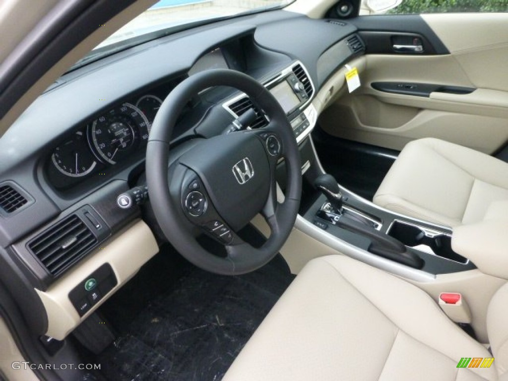Elegant Ivory Interior 2013 Honda Accord EX L Sedan Photo #74036025