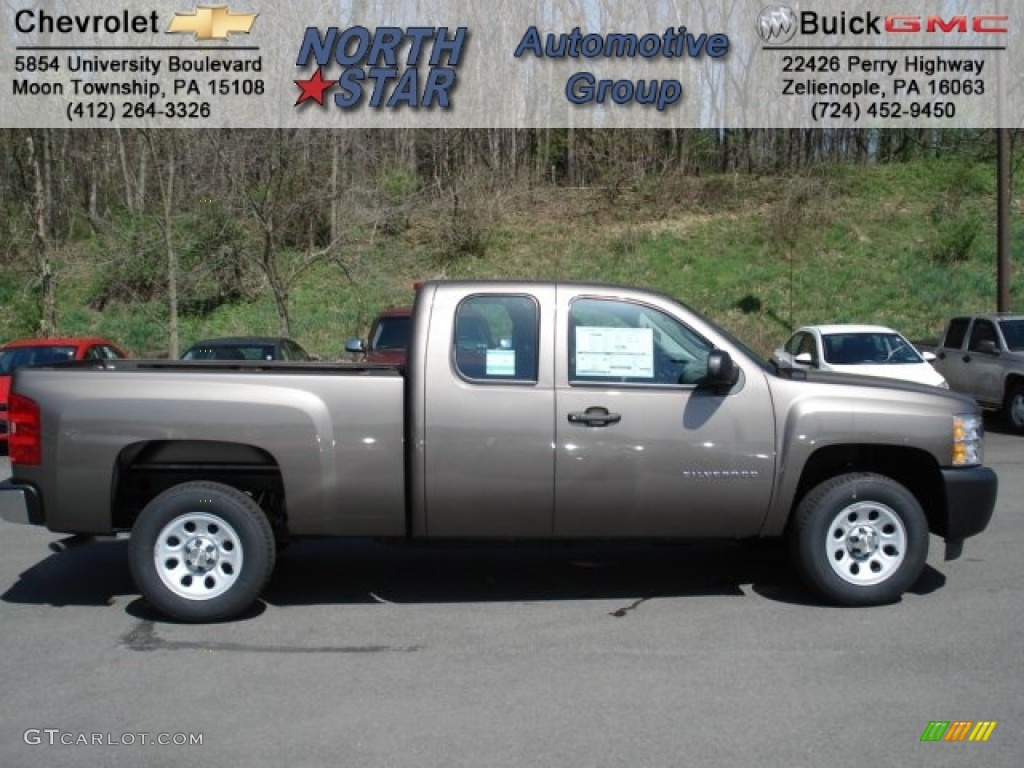 2012 Silverado 1500 Work Truck Extended Cab - Mocha Steel Metallic / Dark Titanium photo #1