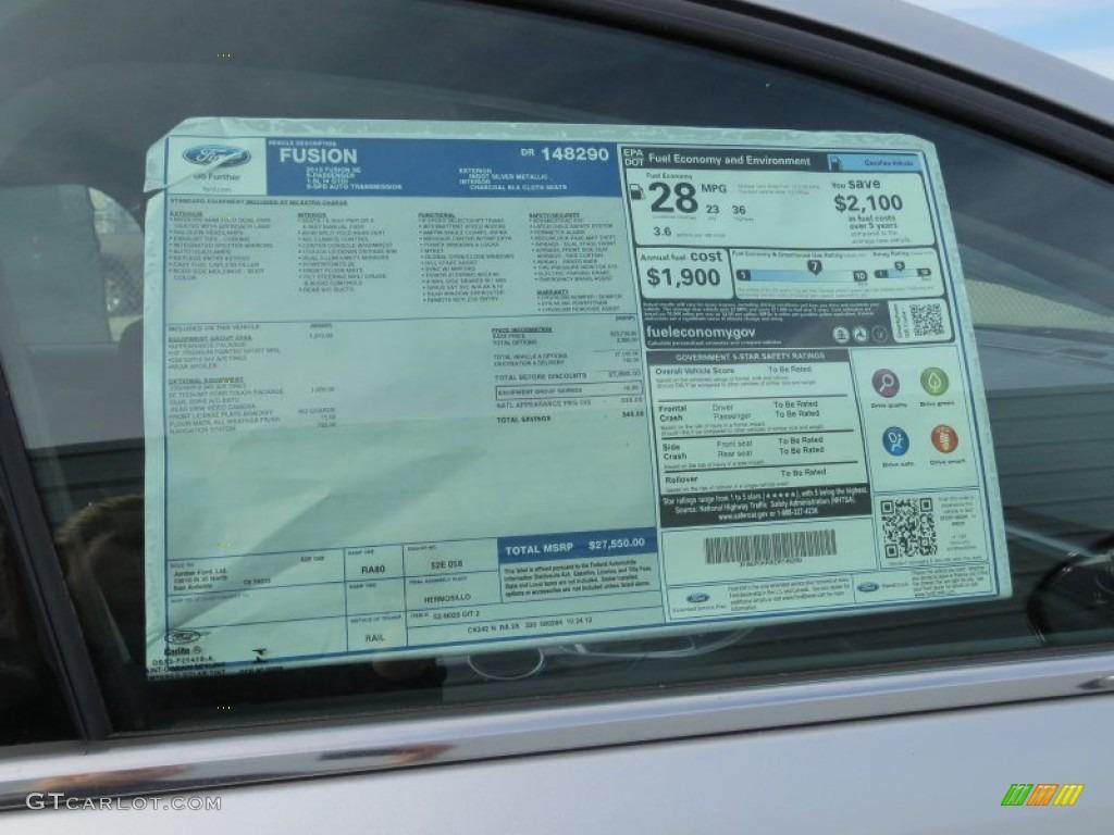 2017 Ford Fusion Hybrid Se >> 2013 Ford Fusion SE 1.6 EcoBoost Window Sticker Photo ...