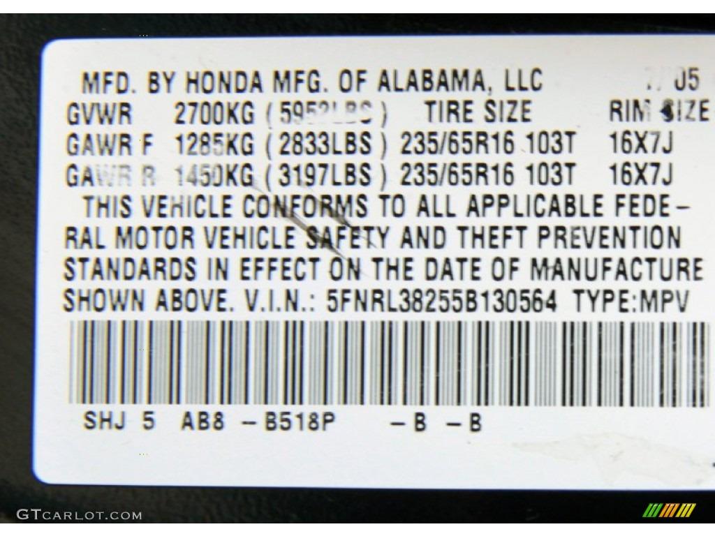 2005 honda odyssey paint codes for Honda odyssey service codes