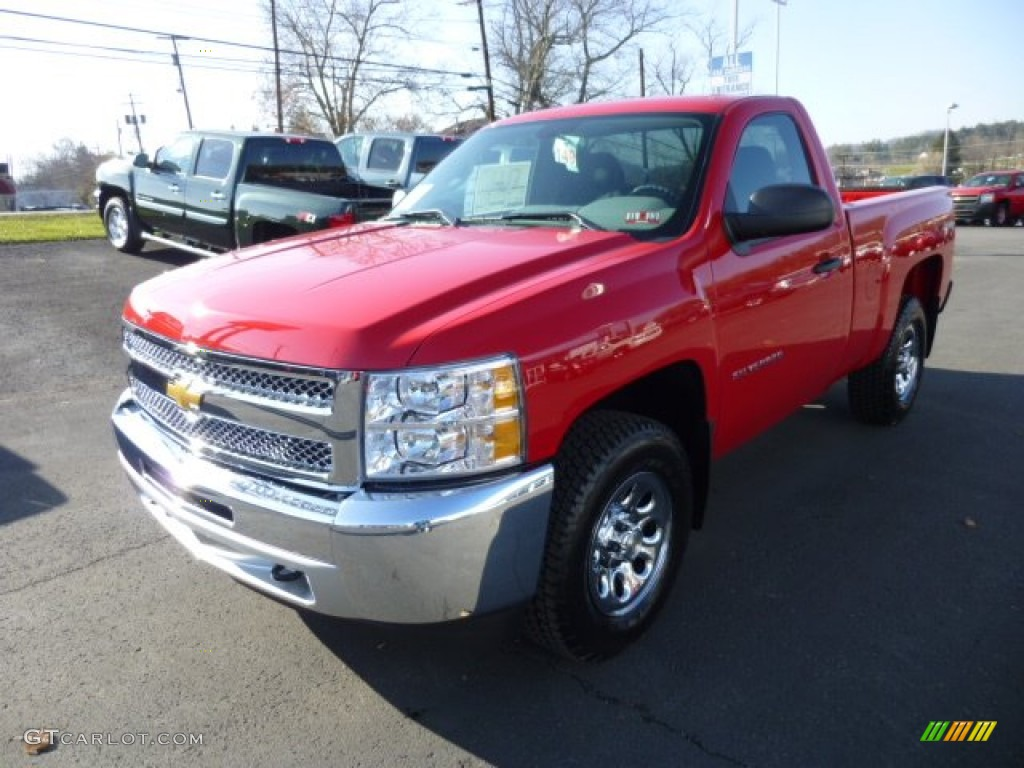 2013 Silverado 1500 Work Truck Regular Cab 4x4 - Victory Red / Dark Titanium photo #3