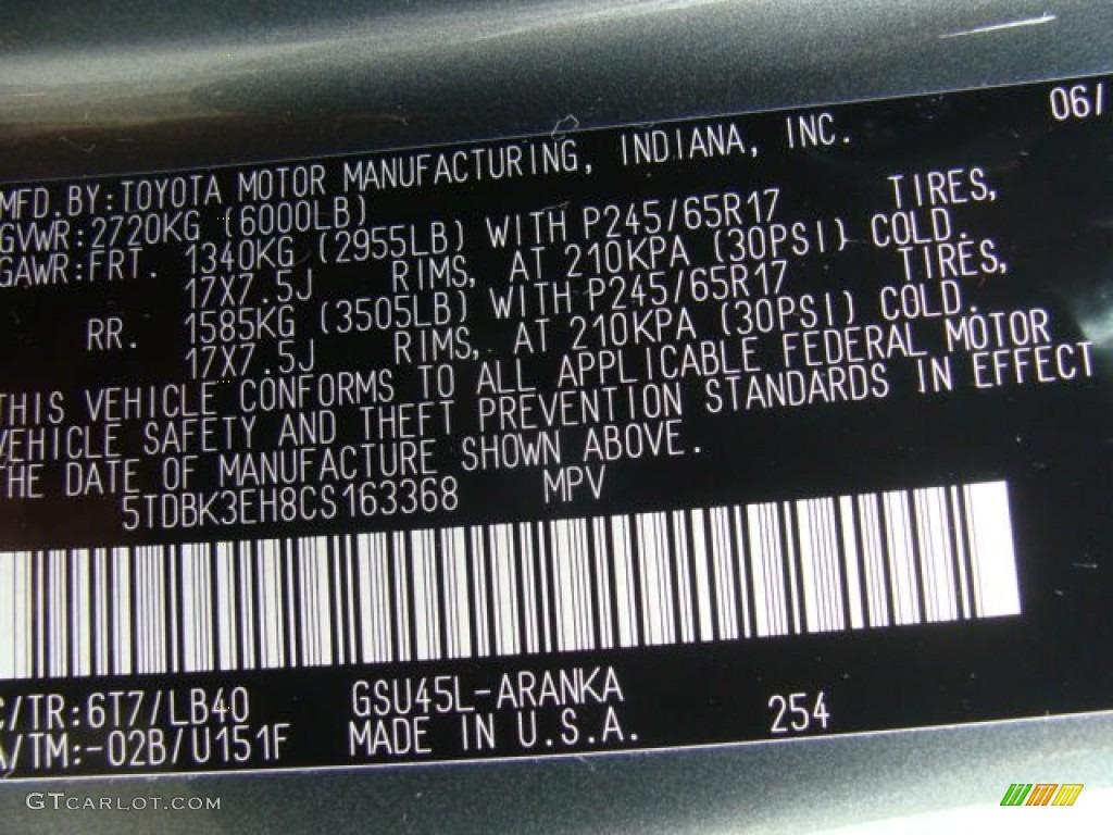 2012 Toyota Highlander Se 4wd Color Code Photos