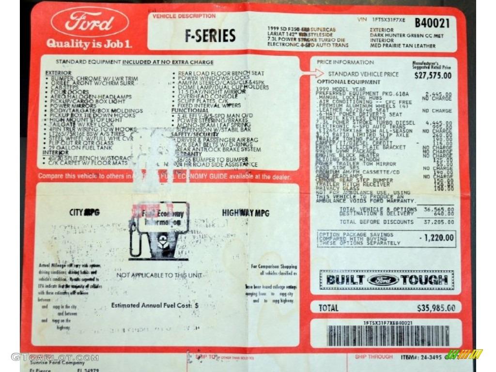 1999 Ford F350 Super Duty Lariat SuperCab 4x4 Window Sticker Photos
