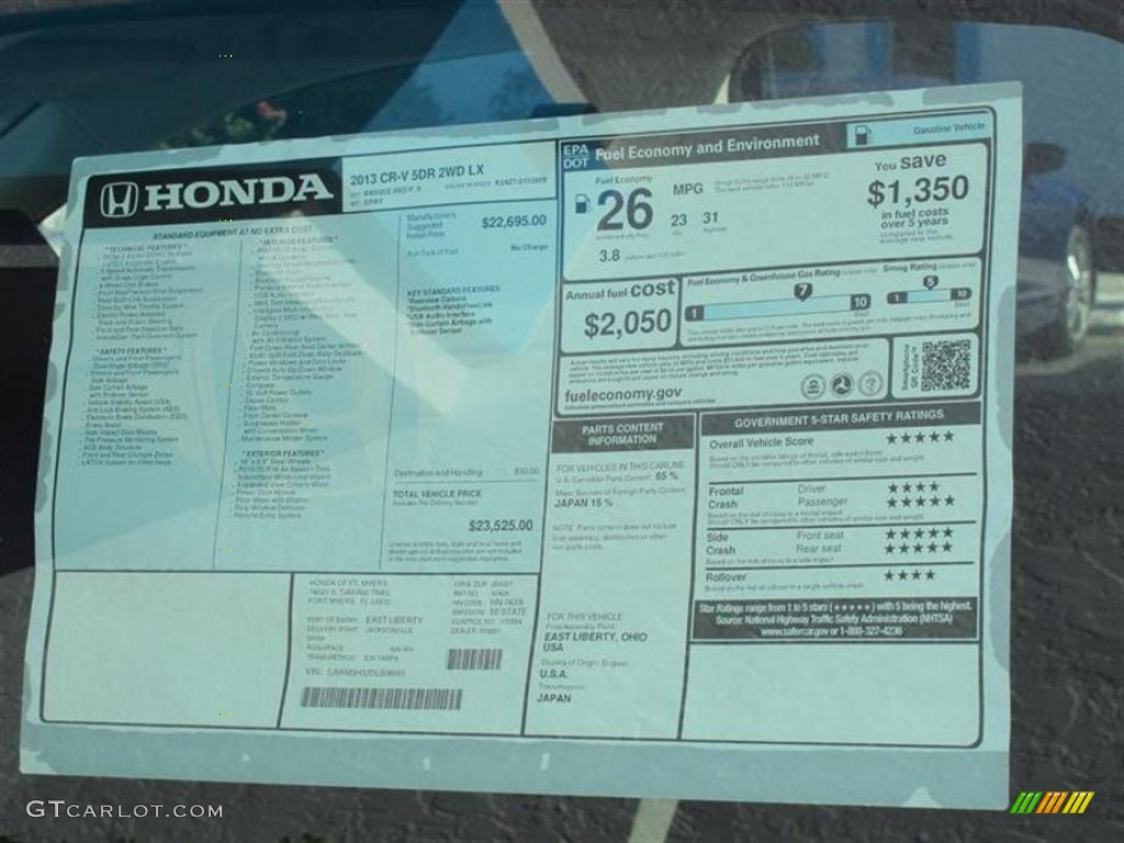 2013 Honda Cr V Lx Window Sticker Photo 74309383