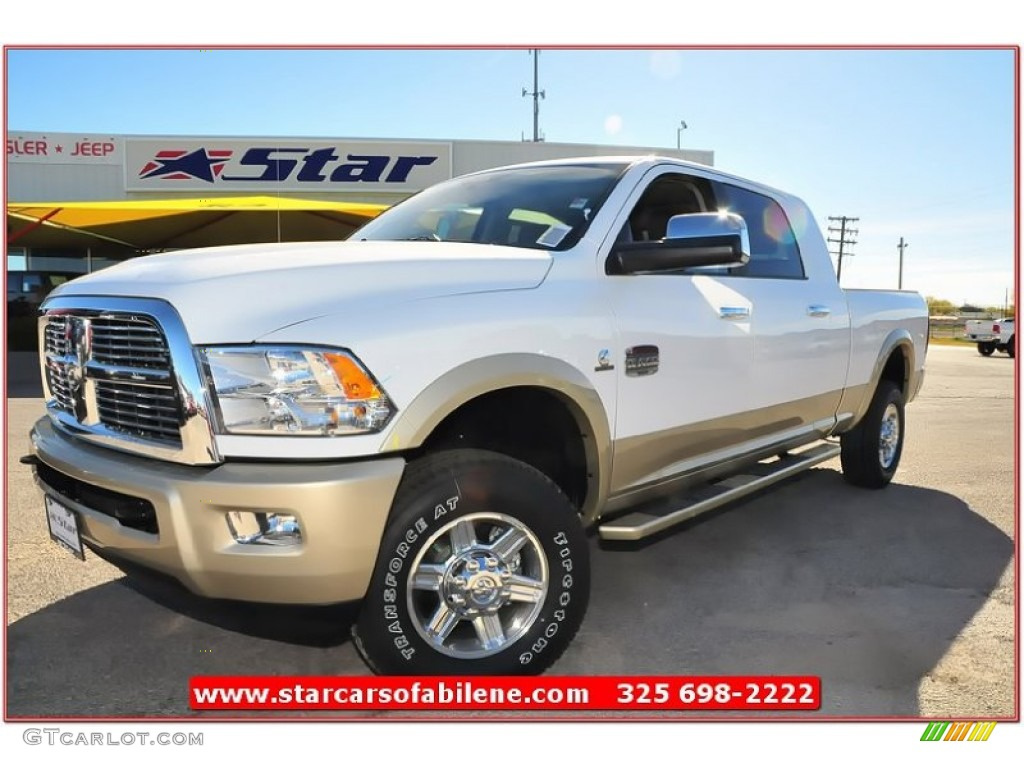 2012 bright white dodge ram 2500 hd laramie limited mega cab 4x4 74308023 car. Black Bedroom Furniture Sets. Home Design Ideas