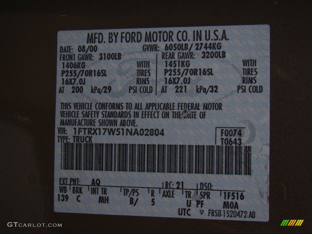 2001 Ford F150 Xlt Supercab Color Code Photos