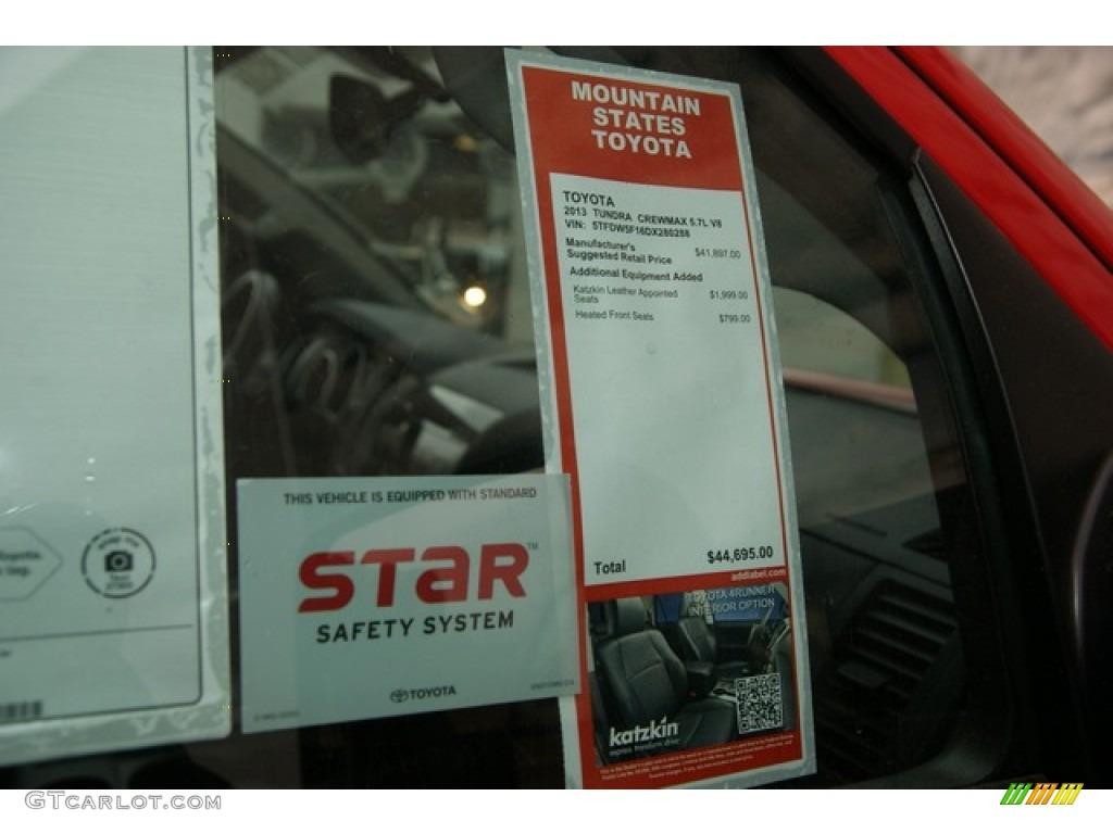 2013 Toyota Tundra TRD Rock Warrior CrewMax 4x4 Window Sticker Photos