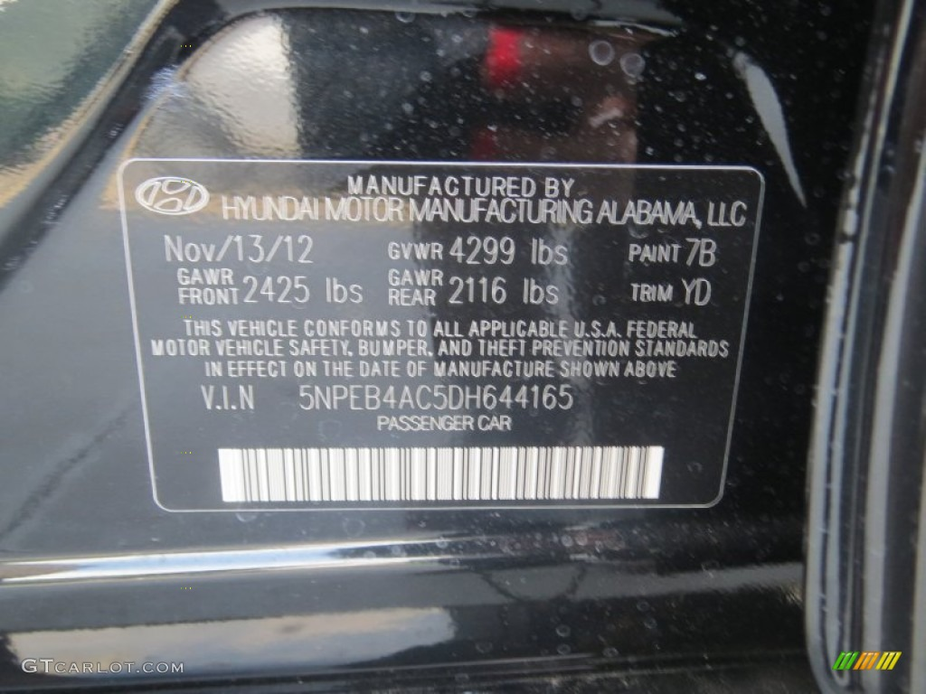 2013 Hyundai Sonata GLS Color Code Photos