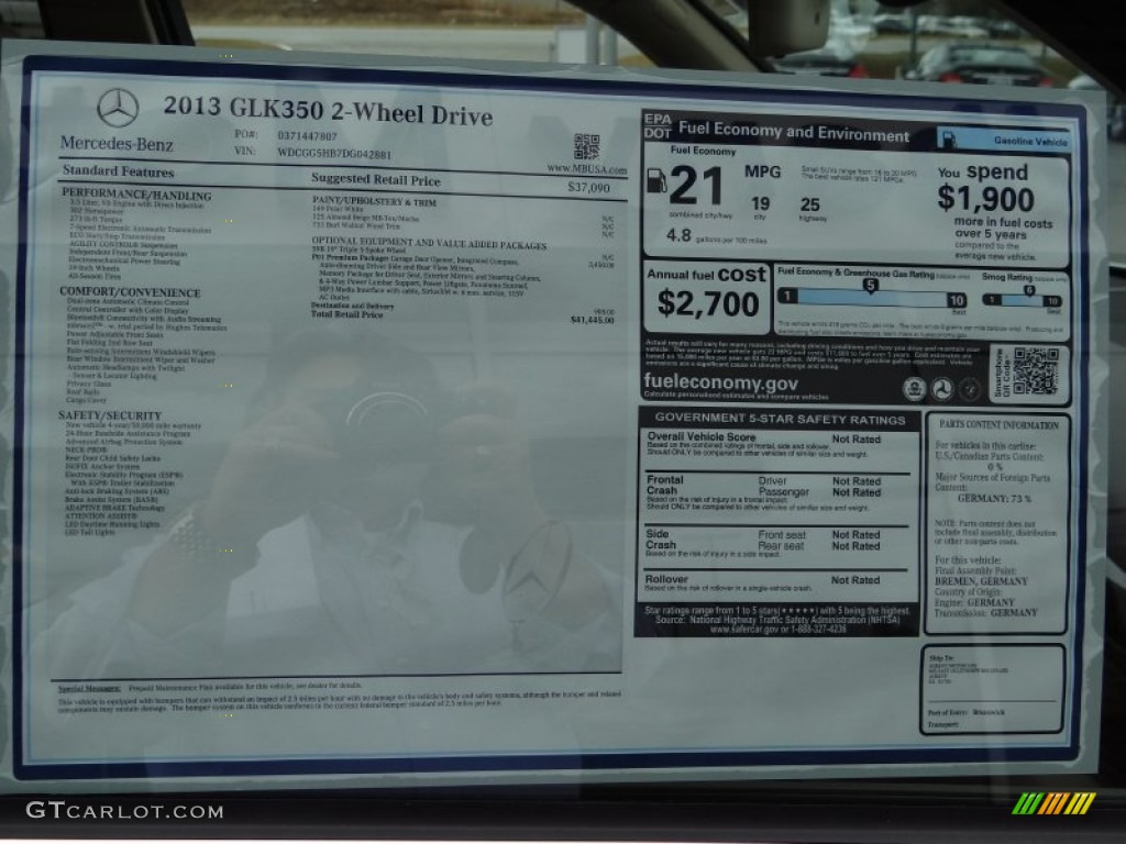 2013 mercedes benz glk 350 window sticker photos