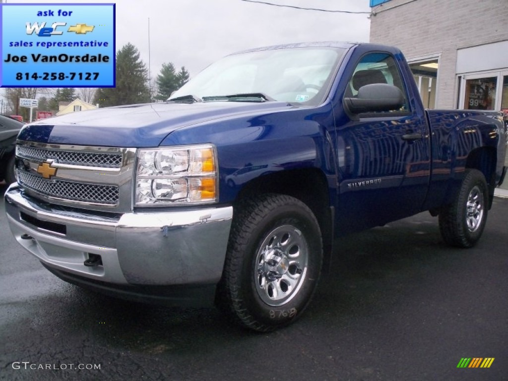 2013 Silverado 1500 LS Regular Cab 4x4 - Blue Topaz Metallic / Dark Titanium photo #1