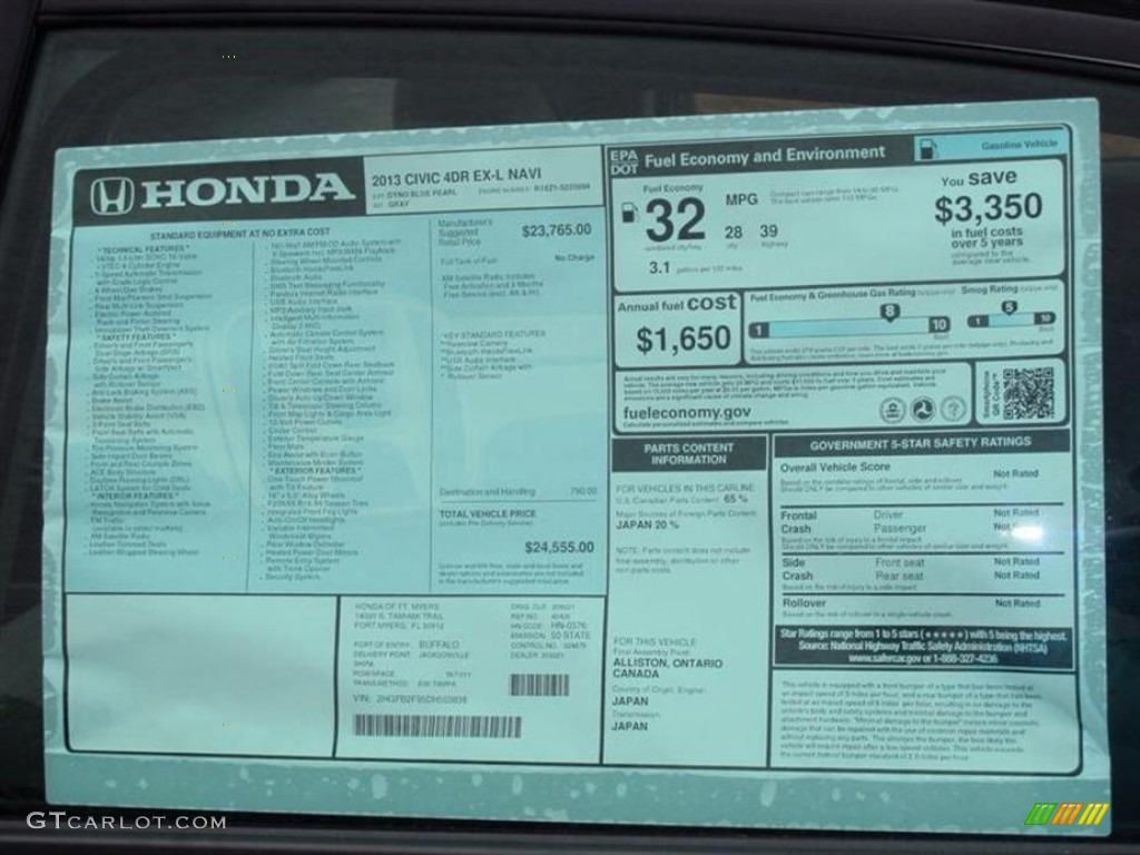 2013 Honda Civic Ex L Sedan Window Sticker Photo 74749103 Gtcarlot Com
