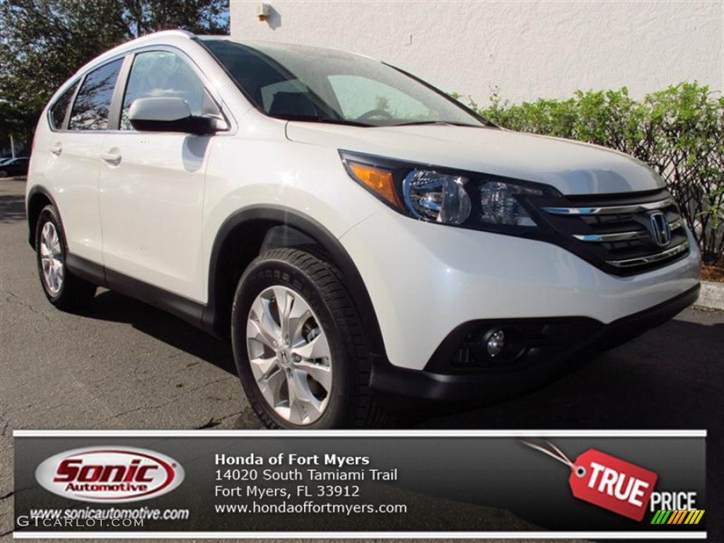 2013 CR-V EX-L - White Diamond Pearl / Gray photo #1