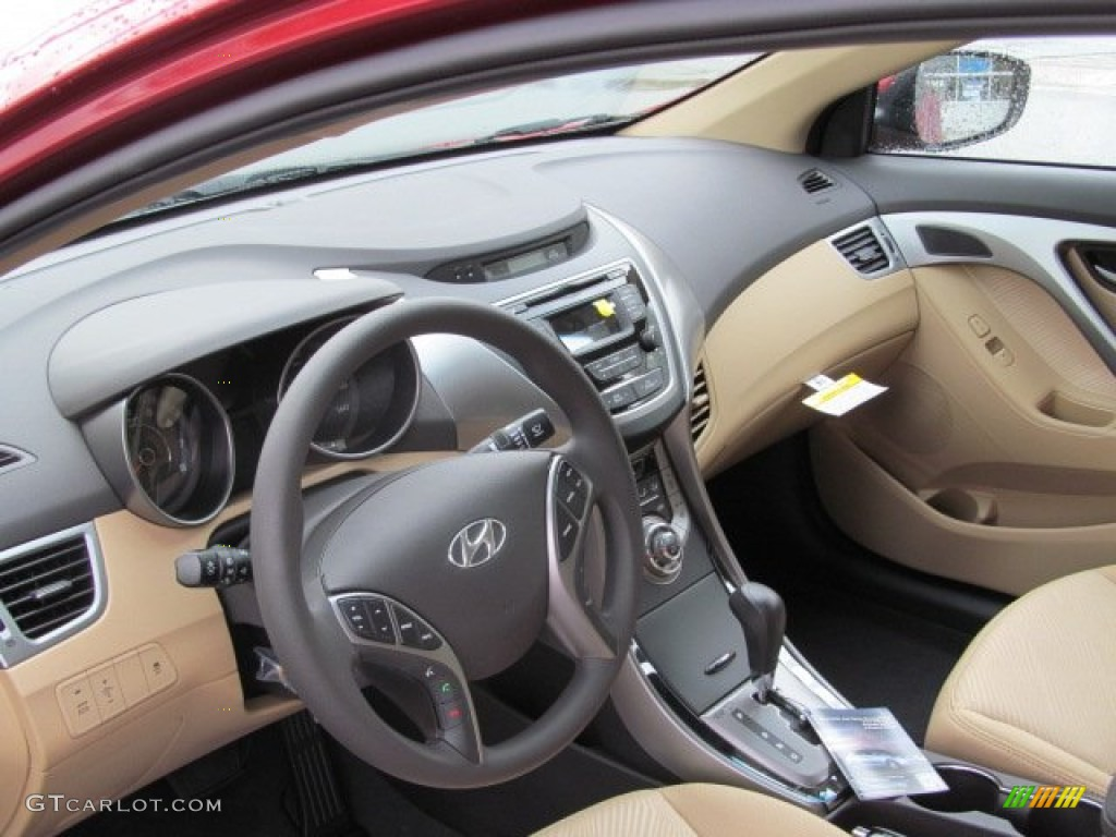 Beige Interior 2013 Hyundai Elantra Gls Photo 74900843