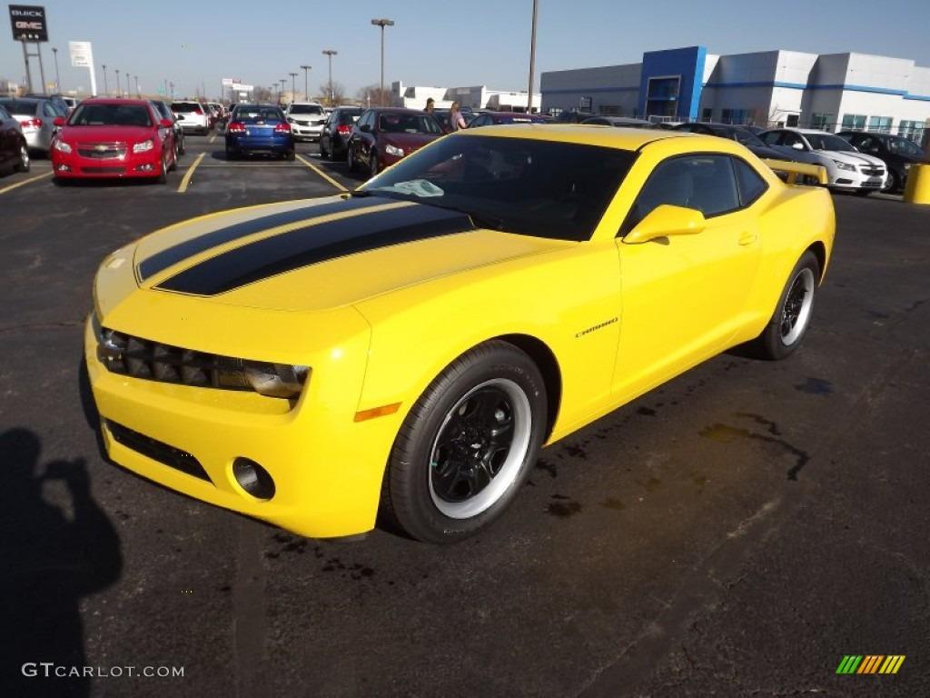 2013 rally yellow chevrolet camaro ls coupe 74925341. Black Bedroom Furniture Sets. Home Design Ideas