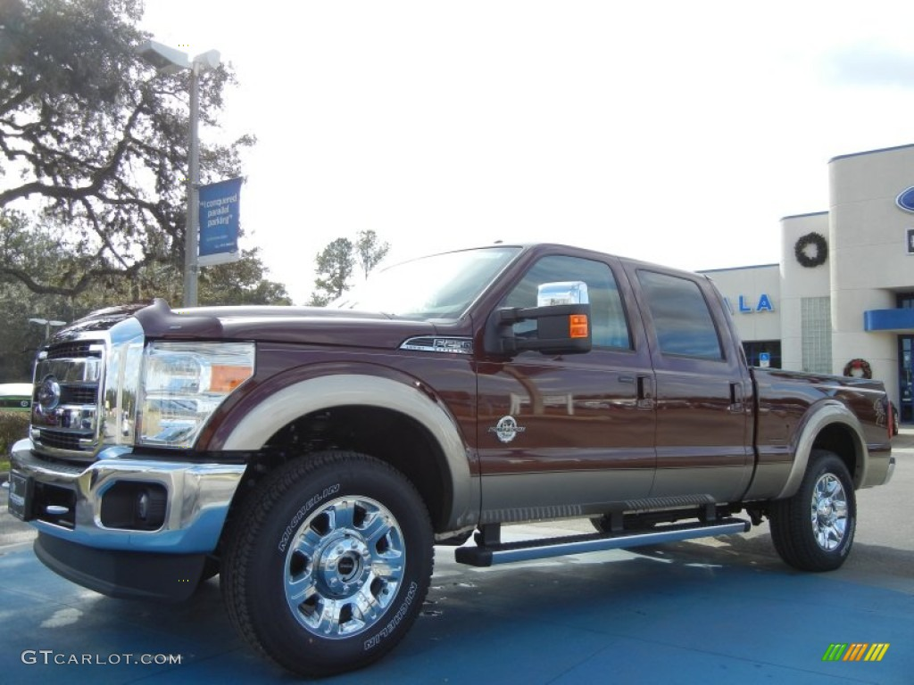 2013 F250 Super Duty Lariat Crew Cab 4x4 - Autumn Red Metallic / Adobe