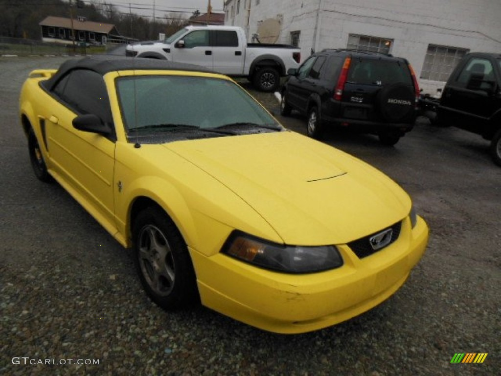 2003 Mustang V6 Convertible - Zinc Yellow / Dark Charcoal photo #1
