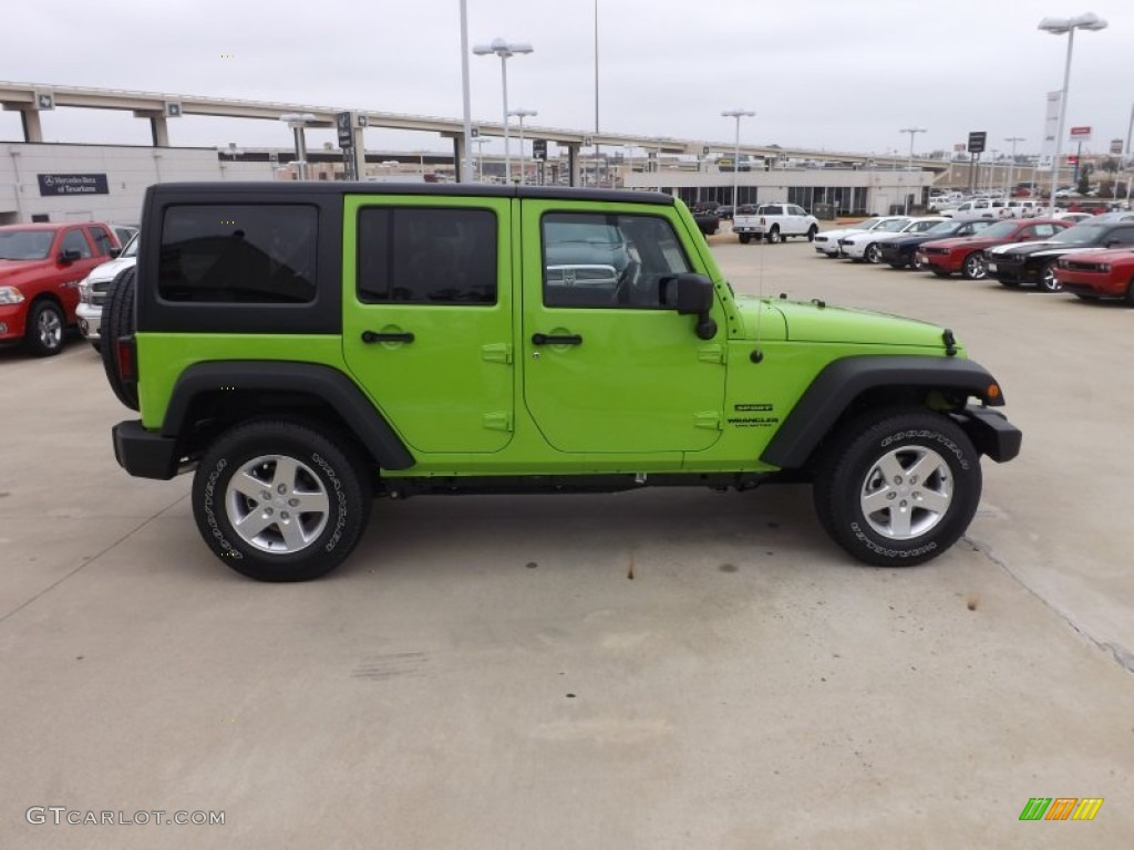 gecko green pearl 2013 jeep wrangler unlimited sport s 4x4 exterior photo 75373812. Black Bedroom Furniture Sets. Home Design Ideas