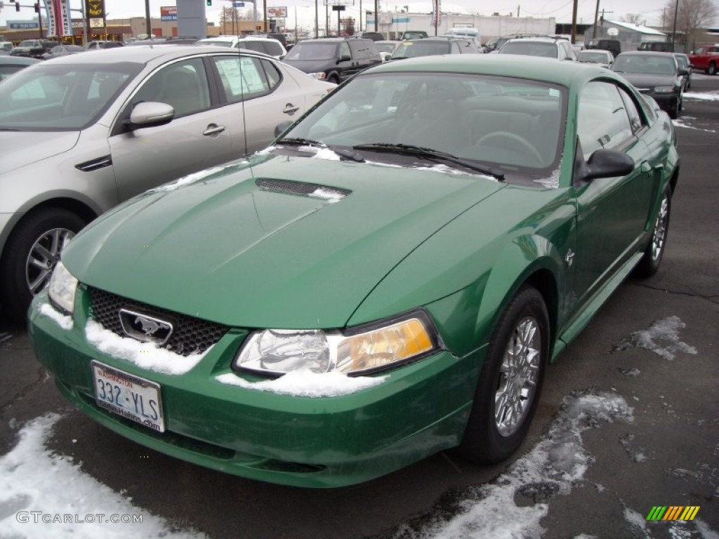 1999 Mustang V6 Coupe - Electric Green Metallic / Light Graphite photo #2
