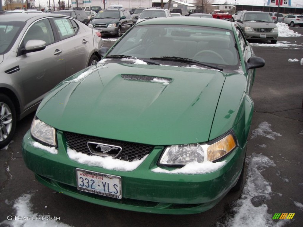 1999 Mustang V6 Coupe - Electric Green Metallic / Light Graphite photo #3