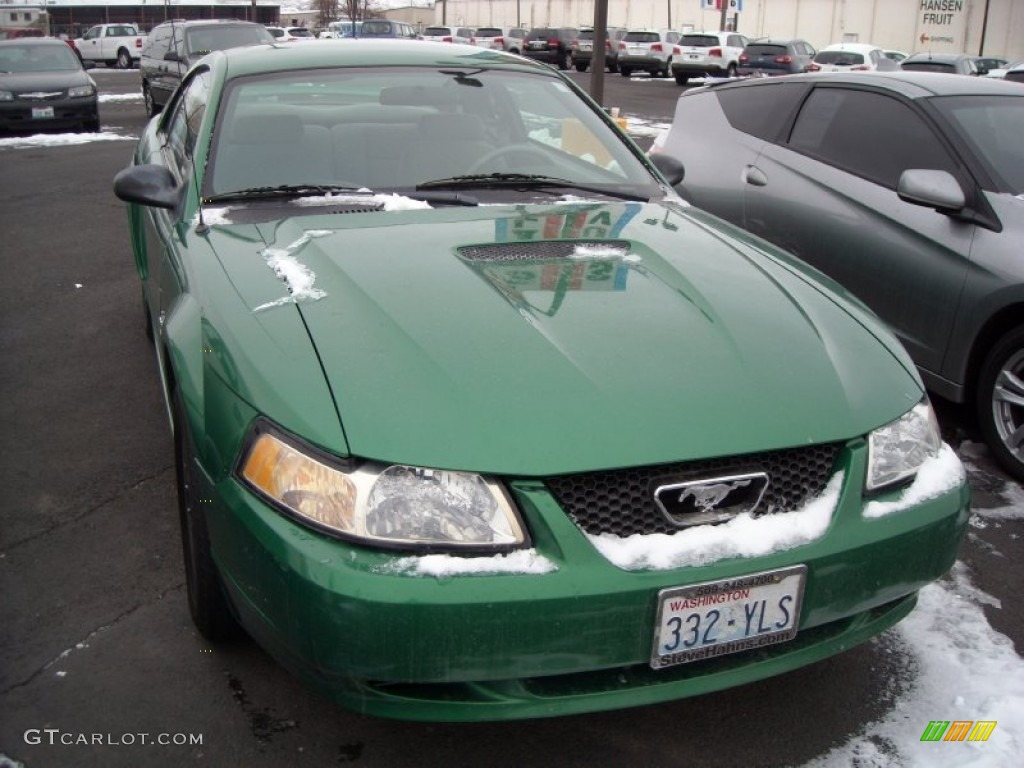 1999 Mustang V6 Coupe - Electric Green Metallic / Light Graphite photo #11