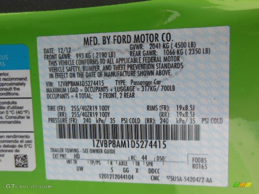 2013 Mustang Color Code HD for Gotta Have It Green Photo 75505691