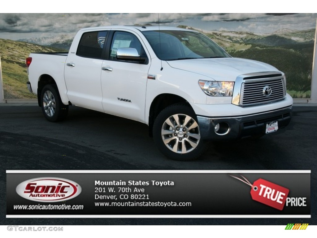 2013 Tundra Platinum CrewMax 4x4 - Super White / Black photo #1