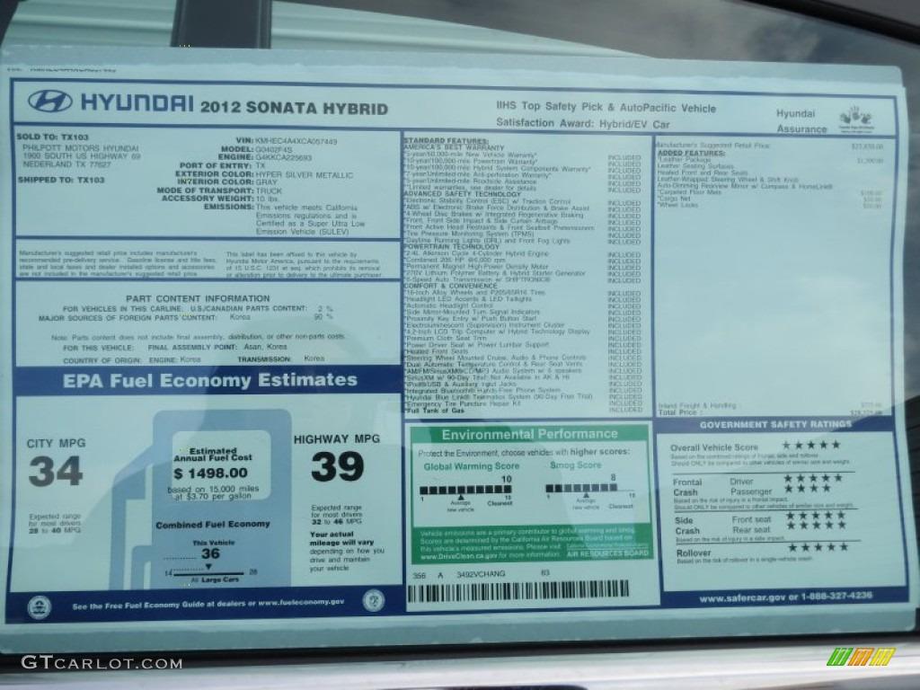 2012 Hyundai Sonata Hybrid Window Sticker Photos