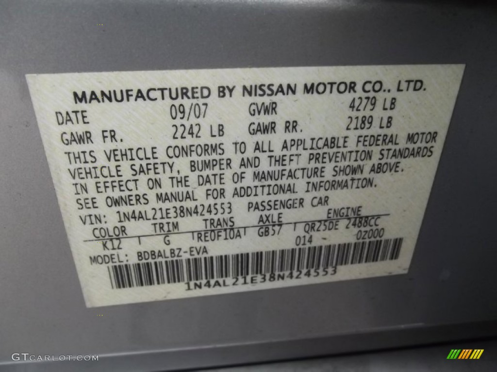 2008 Nissan Altima 2 5 Sl Color Code Photos Gtcarlot Com