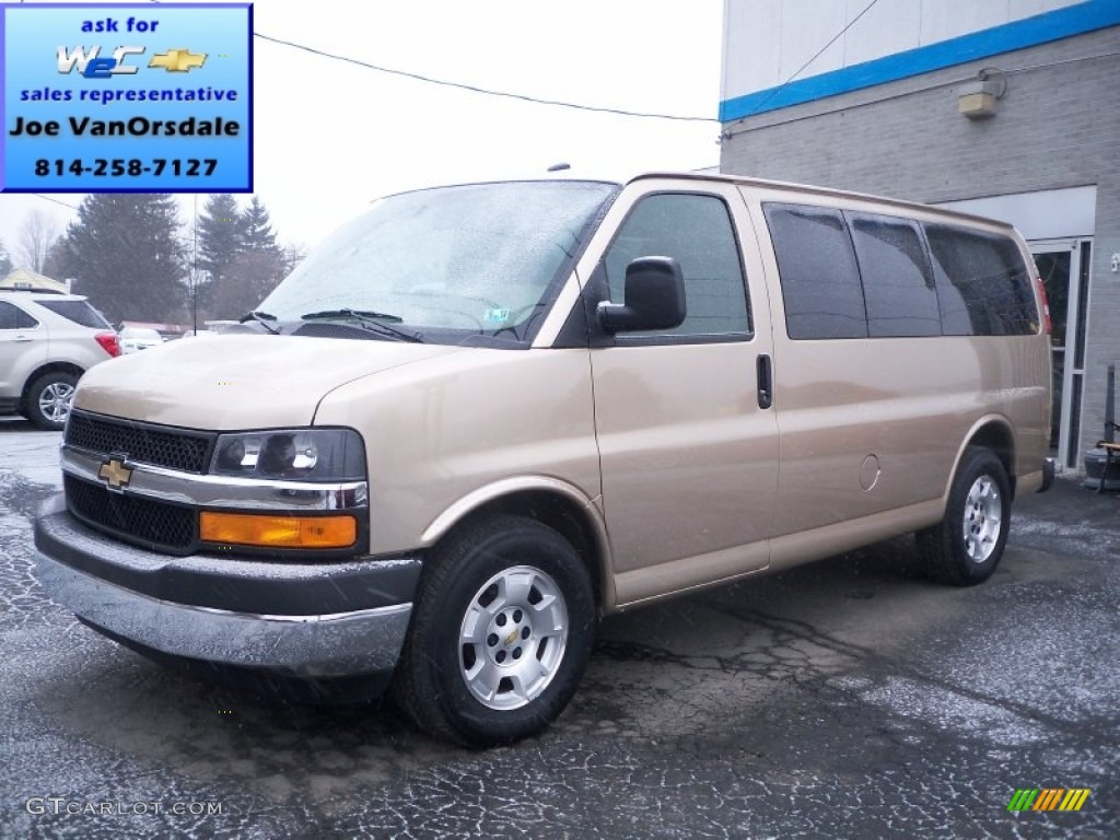 2012 sandstone metallic chevrolet express lt 1500 awd passenger van 76185419. Black Bedroom Furniture Sets. Home Design Ideas
