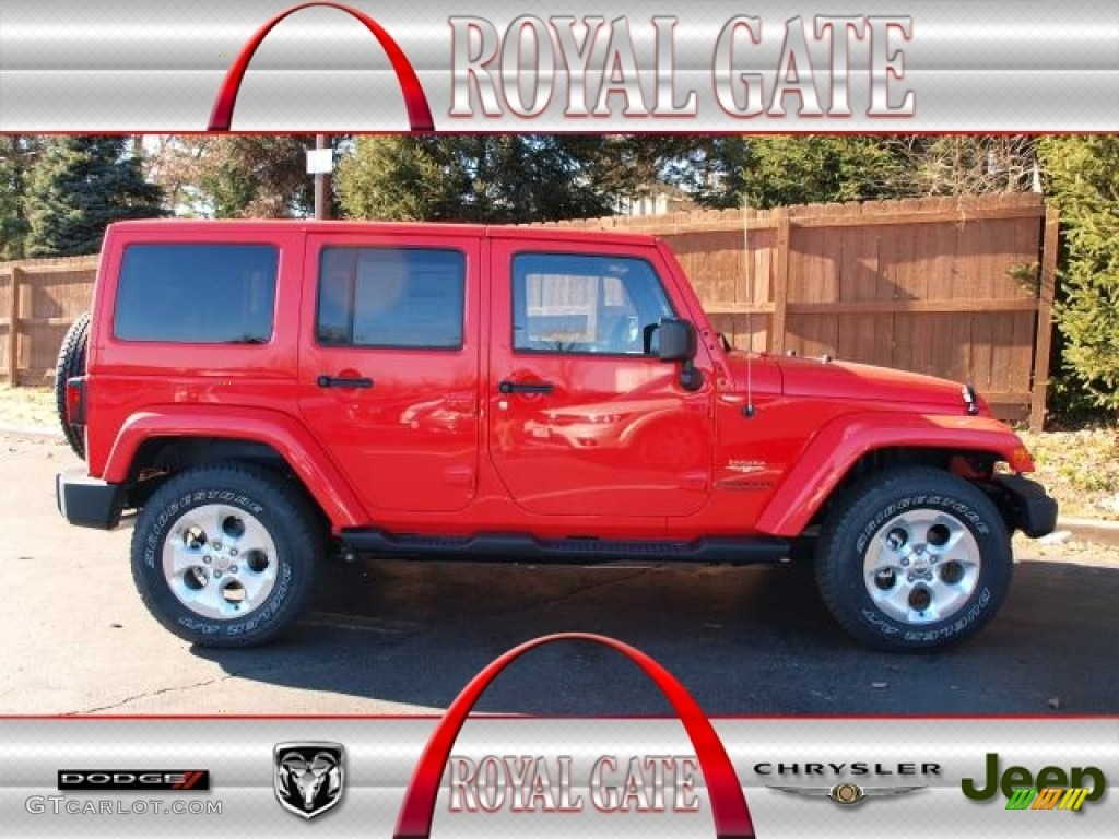 2013 Wrangler Unlimited Sahara 4x4 - Rock Lobster Red / Black photo #1