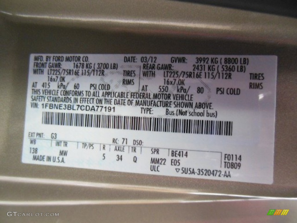 2012 Ford E Series Van E350 Xlt Passenger Color Code