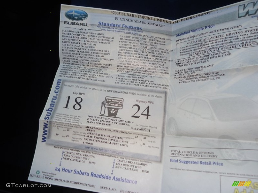 2005 Subaru Impreza Wrx Sti Window Sticker Photo 76309484
