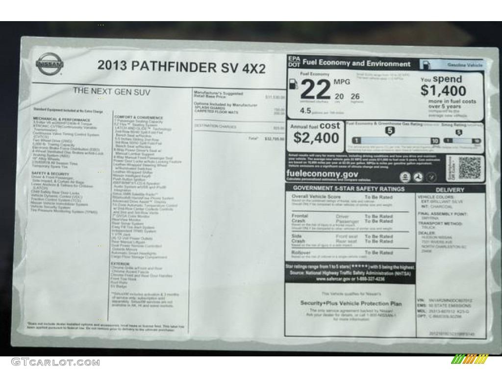 2013 Nissan Pathfinder SV Window Sticker Photo #76337341