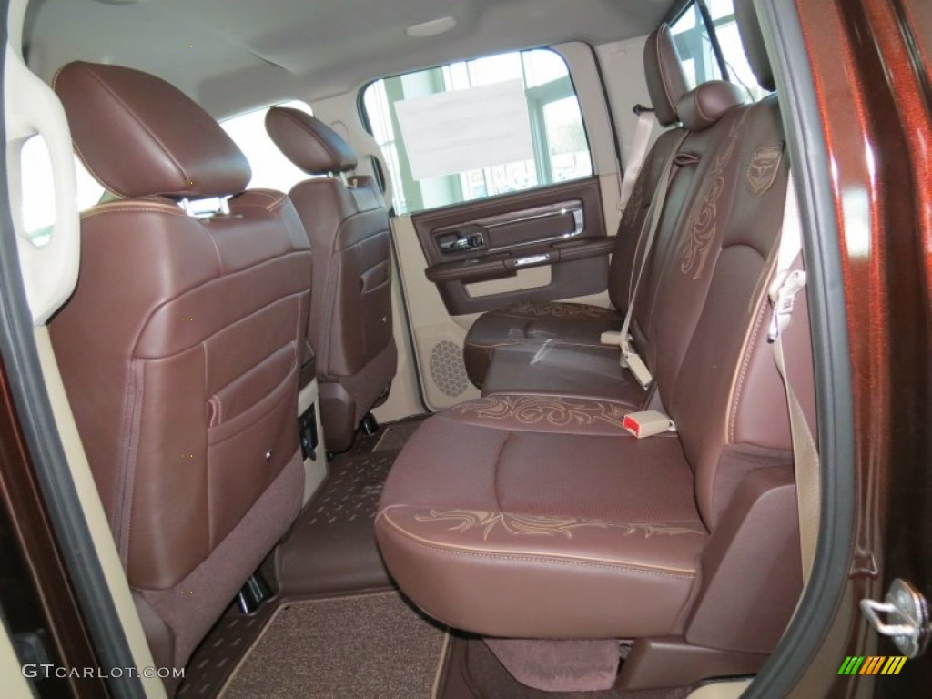 Canyon Brown/Light Frost Beige Interior 2013 Ram 1500 Laramie Longhorn Crew  Cab Photo #