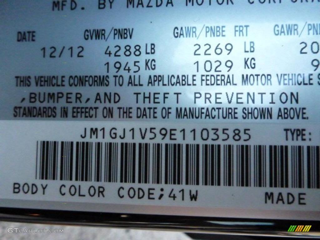 2014 Mazda6 Color Code 41w For Jet Black Mica Photo