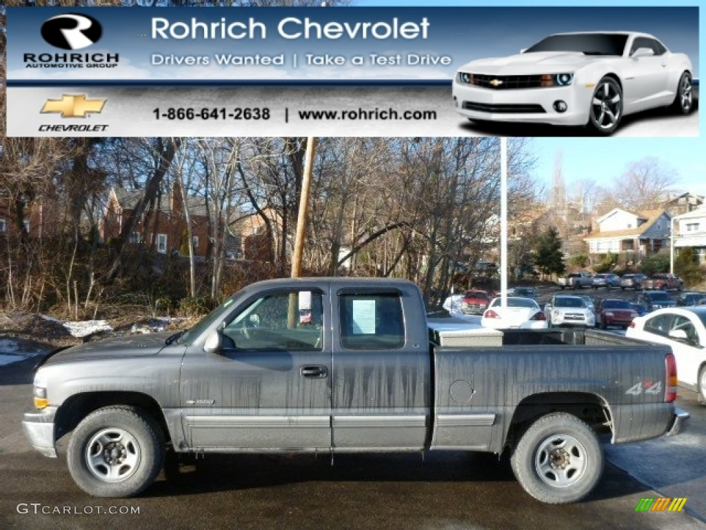 2000 Silverado 1500 LS Extended Cab 4x4 - Charcoal Gray Metallic / Graphite photo #1