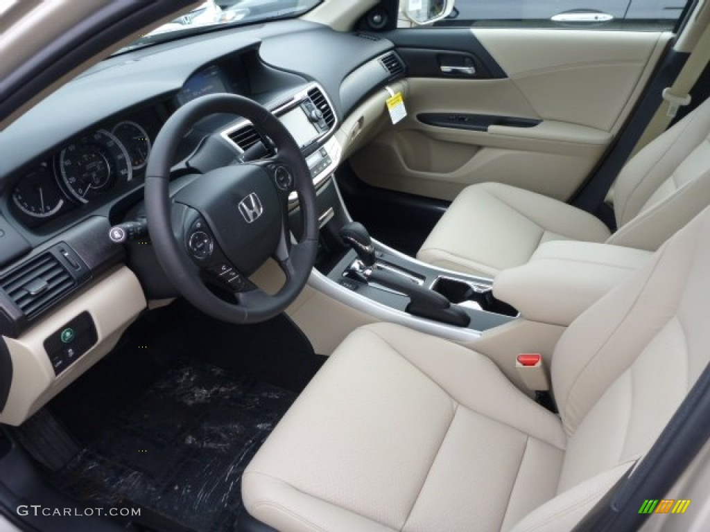 Ivory Interior 2013 Honda Accord EX L V6 Sedan Photo #76553714