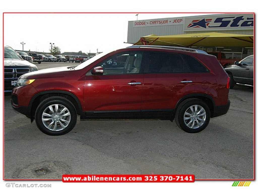 2011 Sorento LX V6 - Spicy Red / Beige photo #2