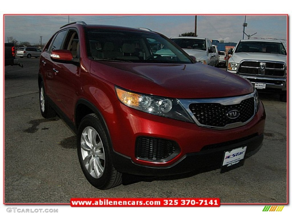 2011 Sorento LX V6 - Spicy Red / Beige photo #8