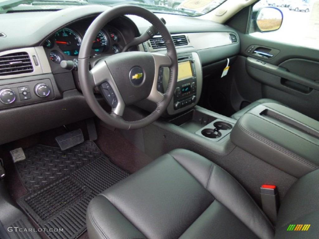 Ebony Interior 2013 Chevrolet Silverado 1500 LTZ Crew Cab 4x4 Photo #76575691