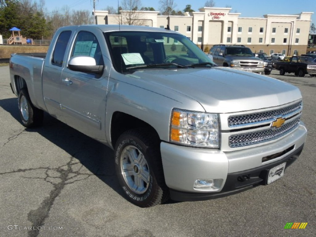 2013 silver ice metallic chevrolet silverado 1500 ltz extended cab 4x4 76624573. Black Bedroom Furniture Sets. Home Design Ideas