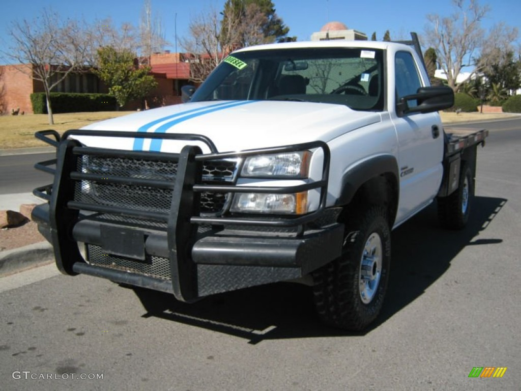 2005 silverado 2500hd work truck regular cab 4x4 flat bed summit white dark charcoal