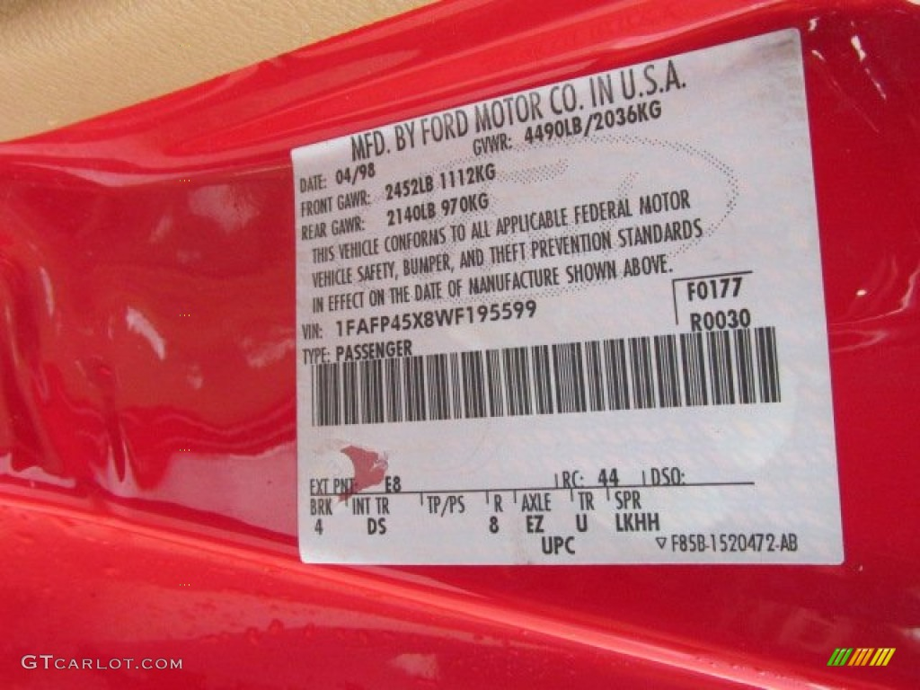 1998 Mustang Color Code E8 For Vermillion Red Photo 76900277