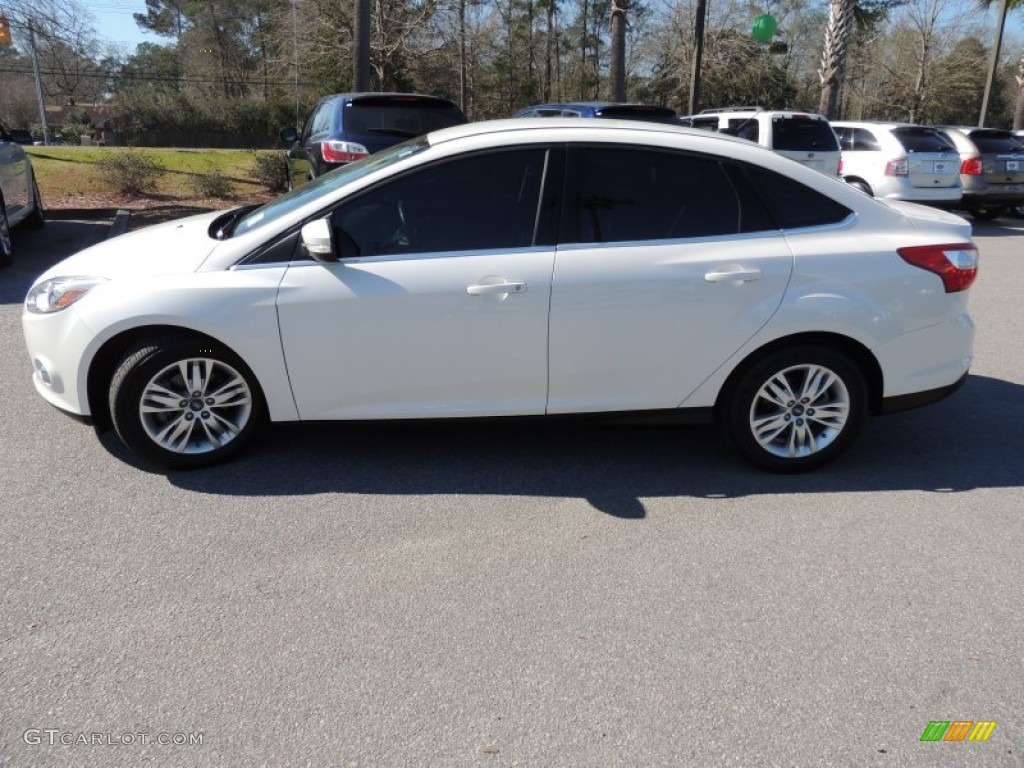 2012 Focus SEL Sedan - White Platinum Tricoat Metallic / Charcoal Black photo #2