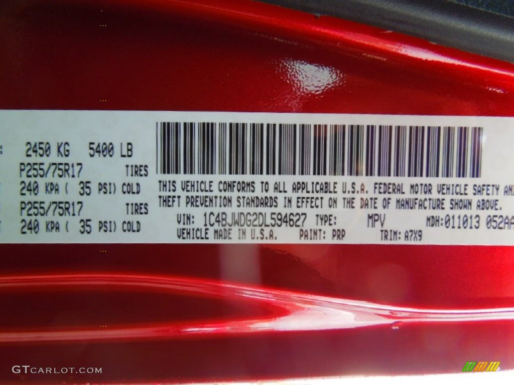 2013 Wrangler Unlimited Color Code Prp For Deep Cherry Red