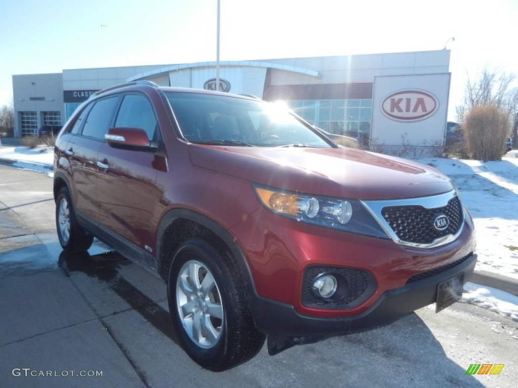 2011 Sorento LX AWD - Spicy Red / Gray photo #1