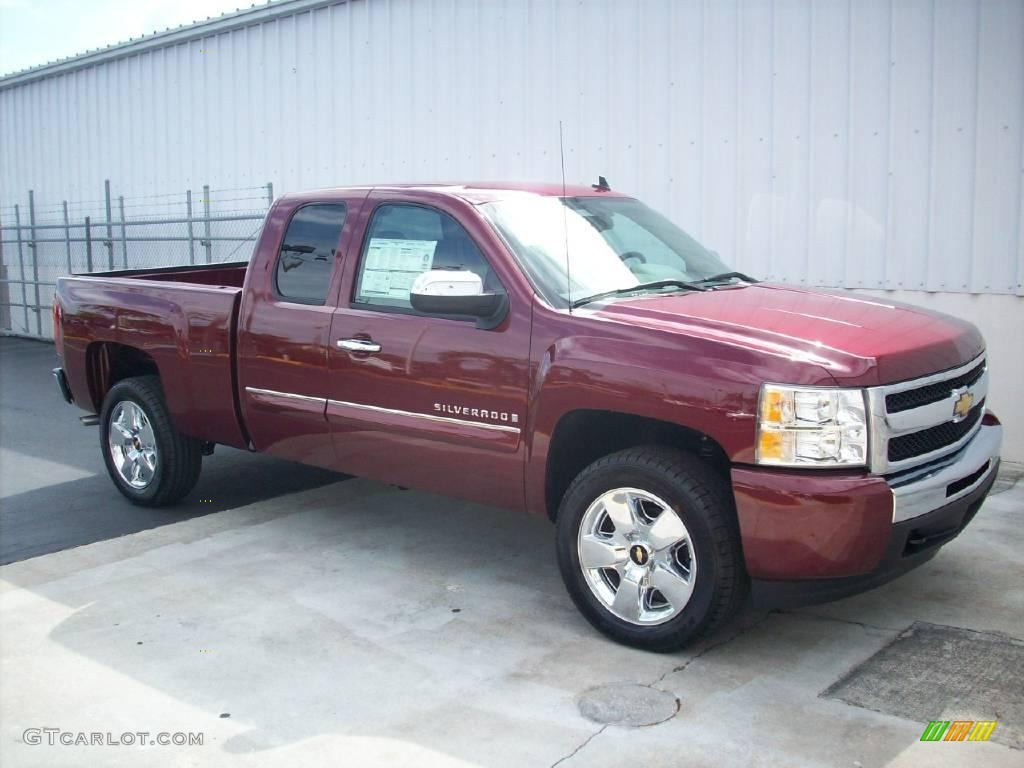 2009 Silverado 1500 LT Extended Cab - Deep Ruby Red Metallic / Light Cashmere photo #1